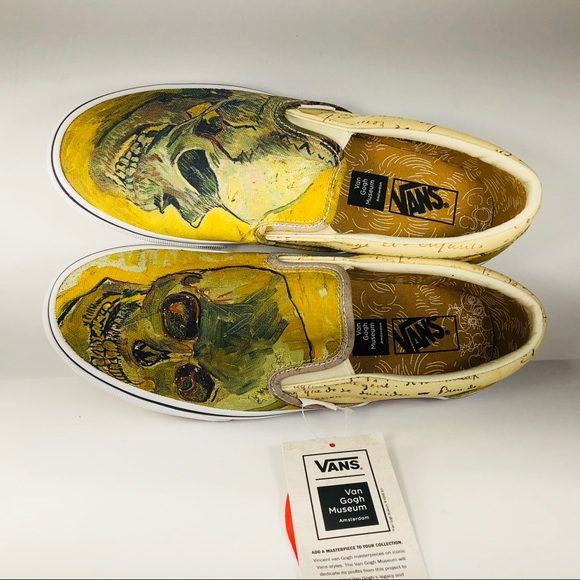 73a52b478305 Vans Classic Slip On Vincent van Gogh Skull Shoes